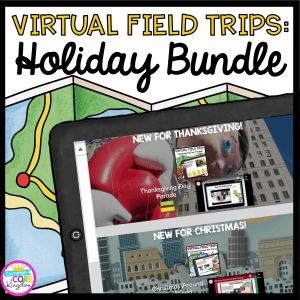 Virtual Field Trips: Holiday Bundle Cover for 2nd - 5th graders, showing snippets from the Thanksgiving and Christmas products