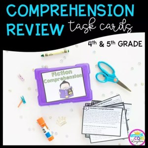 Fiction Comprehension Task Cards with Audio Reading