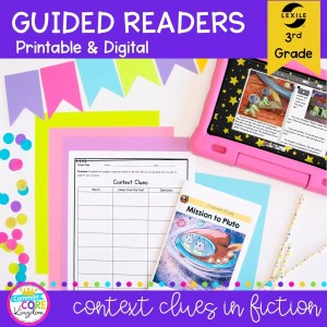 Guided Readers for 3rd Grade - Context Clues, showing printable and digital worksheets