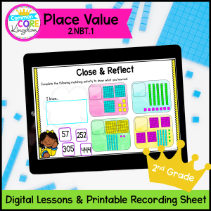 2nd grade digital math lessons cover showing place value resource on ipad