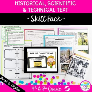 Skill Pack on Historical Events, Scientific & Technical Texts which includes lesson plans, digital mini lessons, guided reading packet, core comprehension, task cards & boom cards