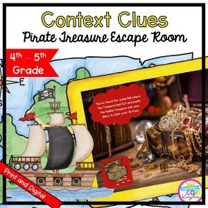 4th & 5th Grade Context Clues: Pirate Treasure Escape Room