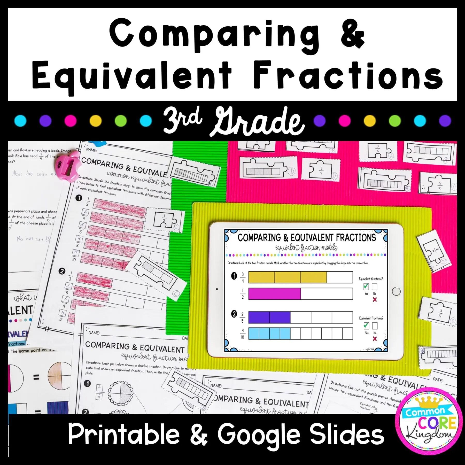 Comparing Equivalent Fractions 3rd Grade Math   Common Core Kingdom [ 1800 x 1800 Pixel ]