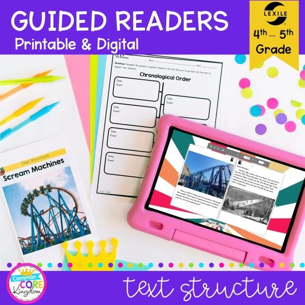 Guided Reading for 4th Grade RI.4.5 Text Structure on Scream Machine