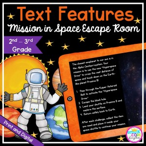 Text Features Mission in Space Escape Room for 2nd & 3rd Grade in Pintable & Digital Format