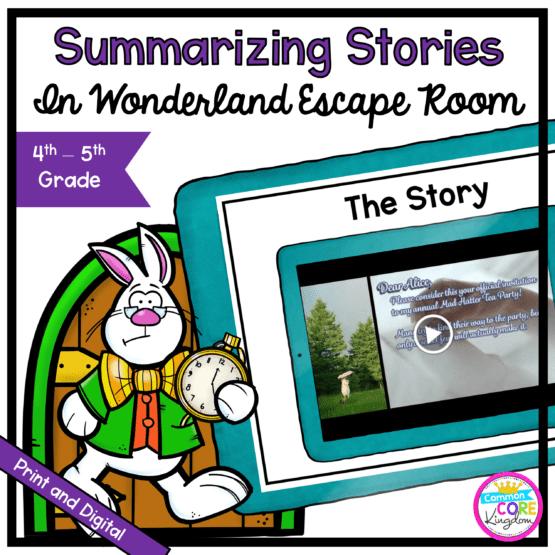 Summarizing Stories Escape Room: Alice in Wonderland for 4th & 5th Grade