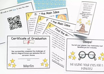 Printable main idea escape room showing qr codes, reading comprehension passages, oops cards, and answer key