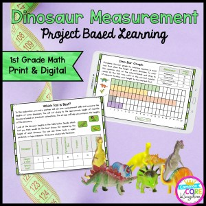 Dino Measurement Project Learning - 1st - Printable & Google Distance Learning