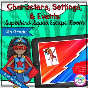 Characters, Settings, & Events Hero Escape Room - Google Slides & Printable 4th