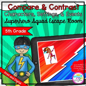 Characters, Settings, & Events Hero Escape Room - Google Slides & Printable 5th