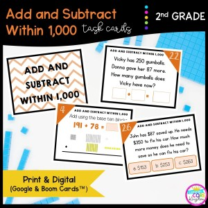 Add & Subtract Within 1000 in Google Slides & Boom Task Cards Format