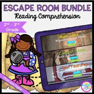 Reading Comprehension Escape Room Bundle for 2nd & 3rd Grade