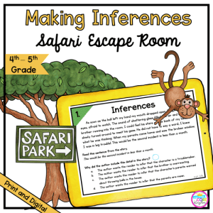 Making Inferences Safari Escape Room for 4th & 5th Grade in Printable & Digital Format