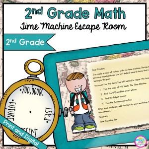 Time Machine Math Time Problems Escape Room for 2nd Gradein Google Slides & Printable Format