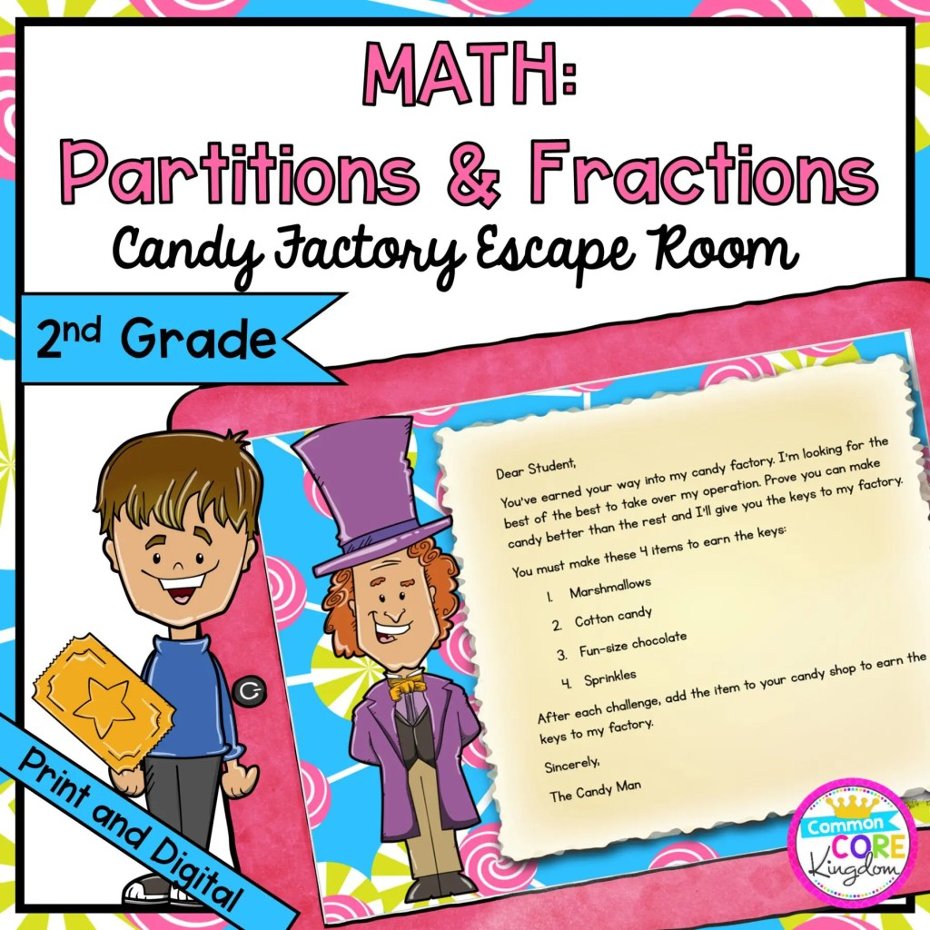 Partitions and Fractions Geometry Escape Room for 2nd Grade in Google Slides & Printable Format