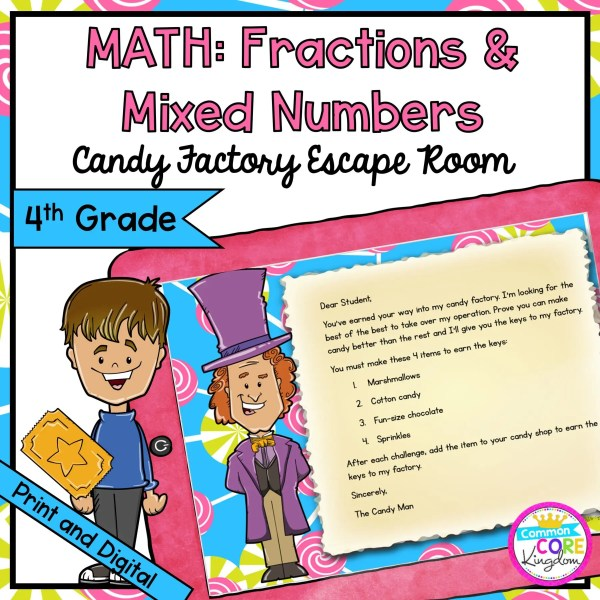 Fractions and Mixed Numbers Escape Room for 4th Grade in Google Slides & Printable Format