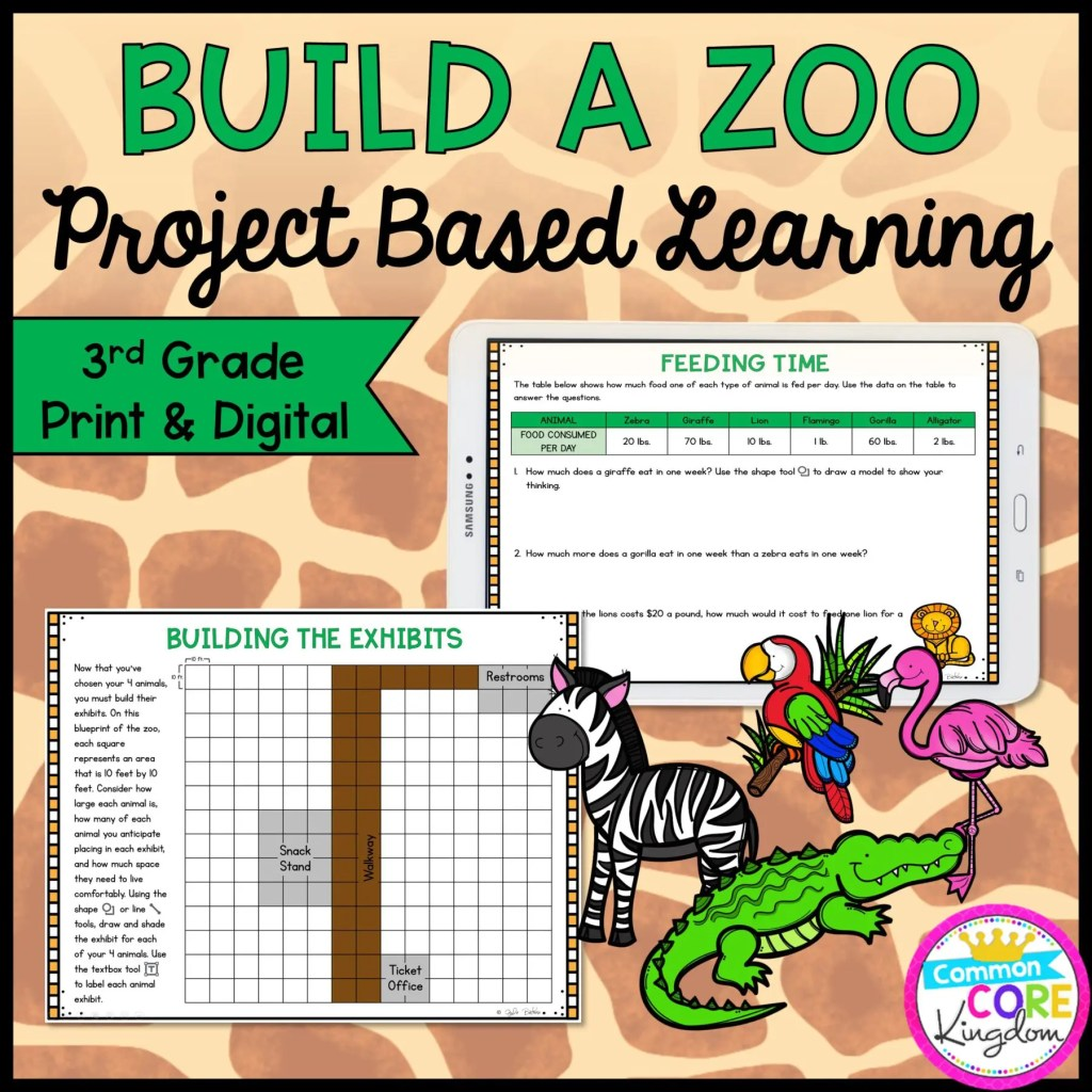 3rd Grade Build a Zoo Project Based Learning in Printable & Google Slides Format