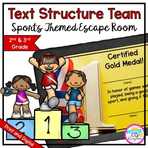 Team Sports Text Structure Escape Room for 2nd & 3rd Grade in Google Slides & Printable Format