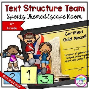 Team Sports Text Structure Escape Room for 4th Grade in Google Slides & Printable Format