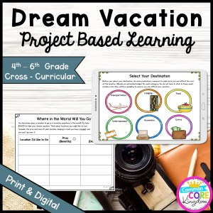 Plan a Vacation Project Based Learning for 4th-6th Grade in Printable & Google Slides Format