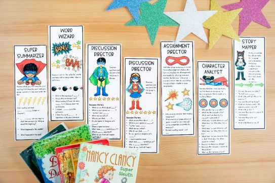 Set of literature circle bookmarks to help increase student participation and accountability when performing literature circle roles.