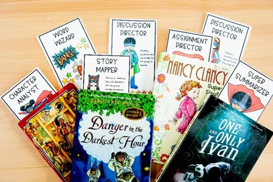 Picture of four chapter books and role playing bookmarks for use in implementing literature circles in elementary classrooms