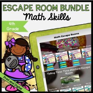 Math Escape Room GROWING Bundle - 4th Grade in Printable & Digital Format