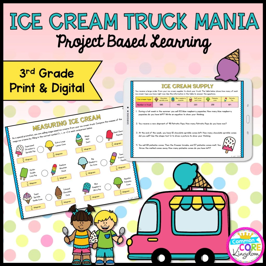 Ice Cream Truck Mania: Math Project Based Learning - 3rd in Print & Digital Format