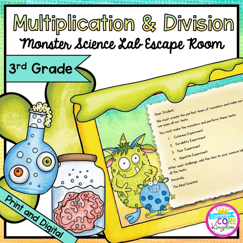 Multiplication & Division - Monster Science Escape Room for 3rd Grade in Digital & Printable Format