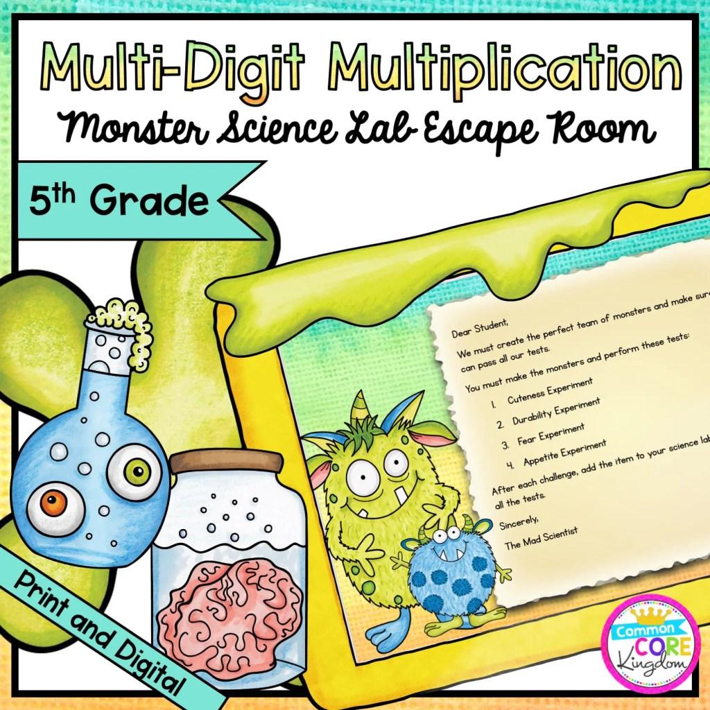 Multi-Digit Multiplication - Monster Science Escape Room for 5th Grade in Digital & Printable Format