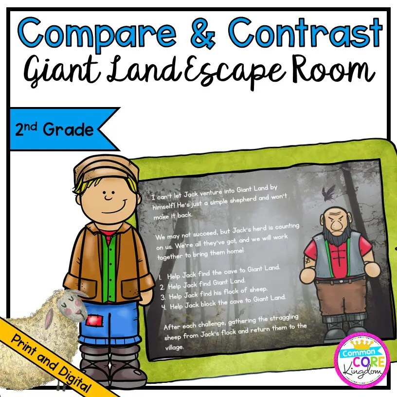 Compare & Contrast Fiction Giant Land Escape Room - 2nd Grade in Digital & Printable Format
