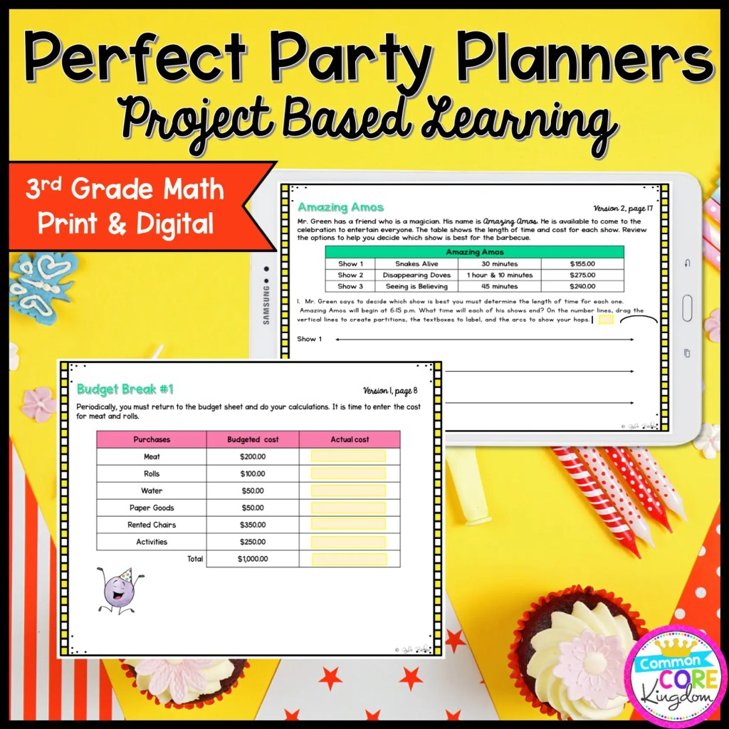 3rd Grade Perfect Party Planners Project Based Learning - Printable & Google Slides Format