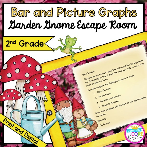 2nd Grade Bar & Picture Graphs - Garden Gnome Escape Room in Digital & Printable Format