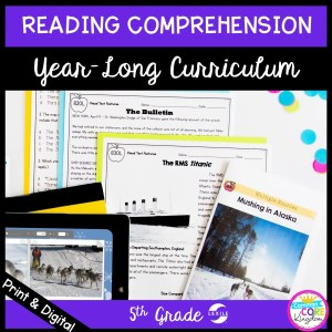 4th grade reading comprehension year long curriculum cover