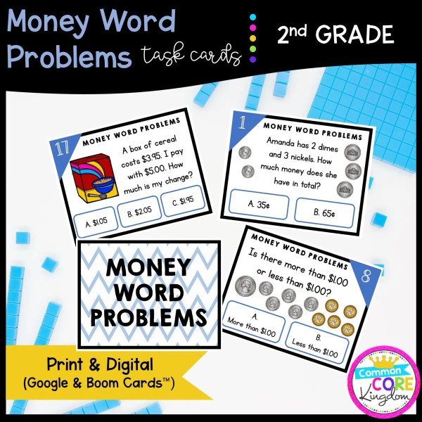 Money Word Problems Task Cards - 2nd Grade Math - Print, Slides, & Boom Formats