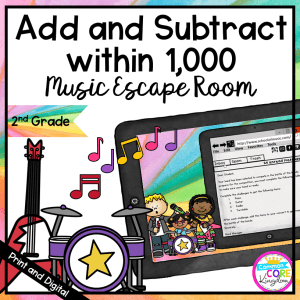 Add & Subtract within 1,000 Escape Room - 2nd Grade Math - Digital & Printable