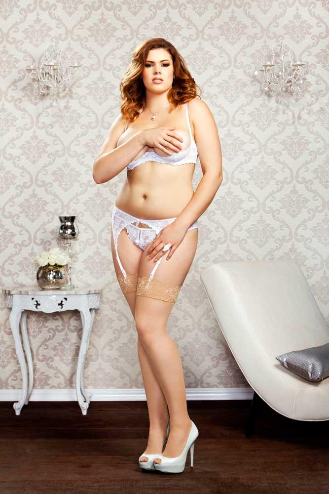 Sexy Plus Size Lingerie Triangle Stretch Lace Garterbelt