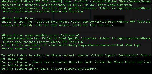 VMware Fusion 7 1 1 OVF Tool Error + Drag & Drop - common denial