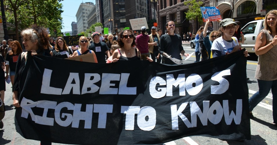 GMO labeling proponents hold a sign during a march in San Francisco in 2013.  (Photo: Steve Rhodes/flickr/cc)