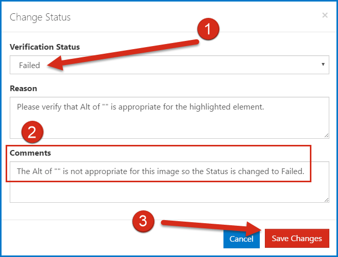 The Change Status dialog box showing the changed status, a comment added, and the Save Changes button is highlighted