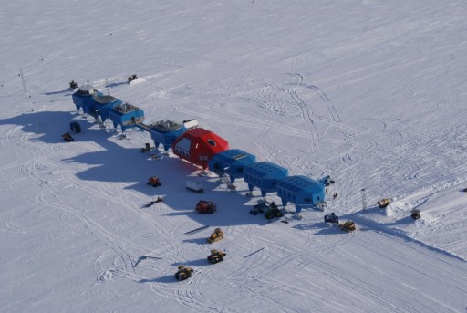 Halley VI Antarctic research station aerial view. Image: Hugh Broughton Architects