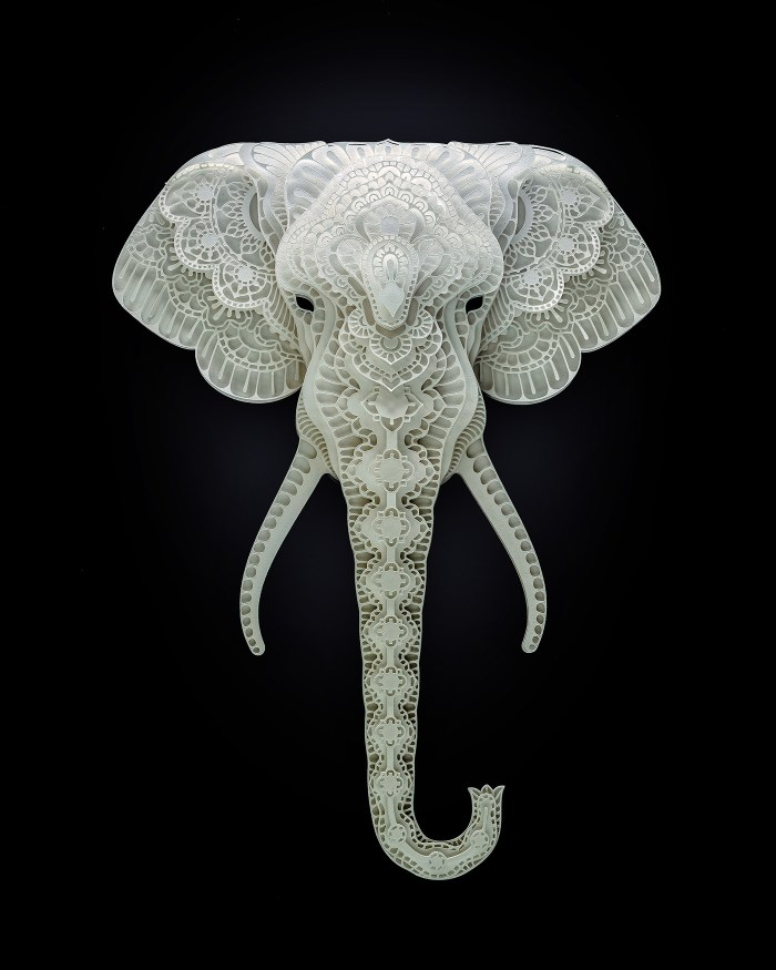 Elephant paper sculpture by Patrick Cabral