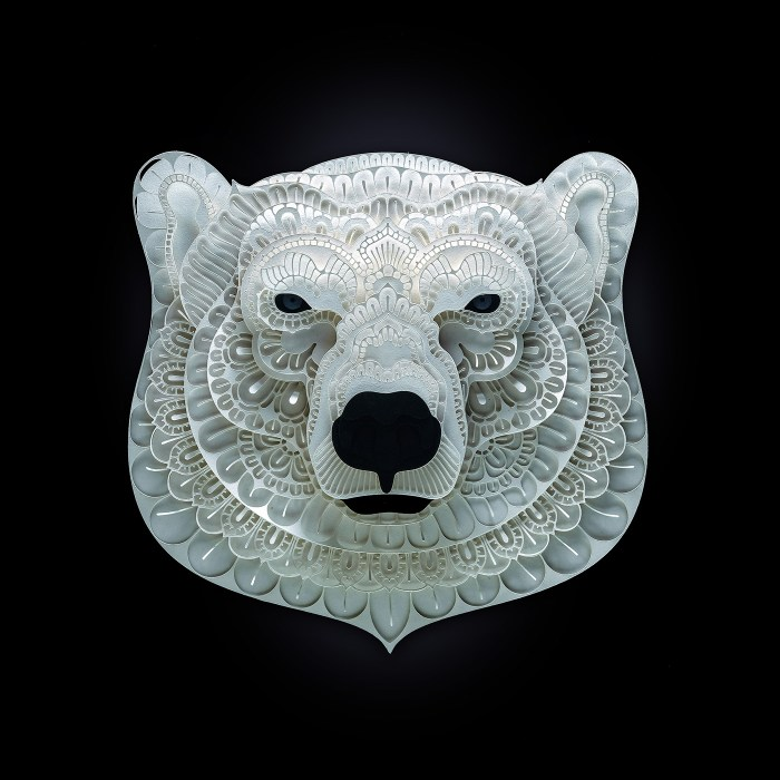 Polar Bear paper sculpture by Patrick Cabral