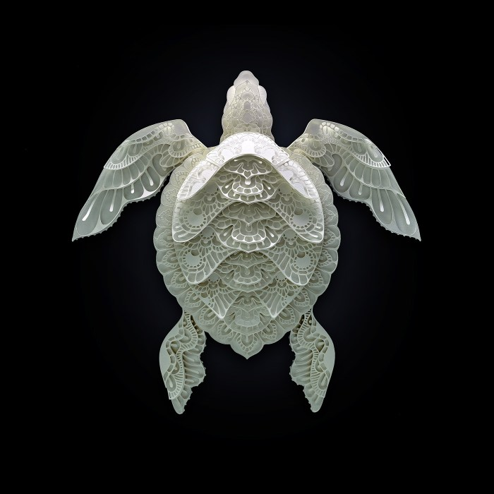 Sea Turtle paper sculpture by Patrick Cabral