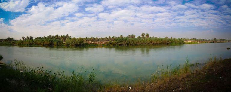 View to Euphrates river at Hillah, Babyl, Iraq