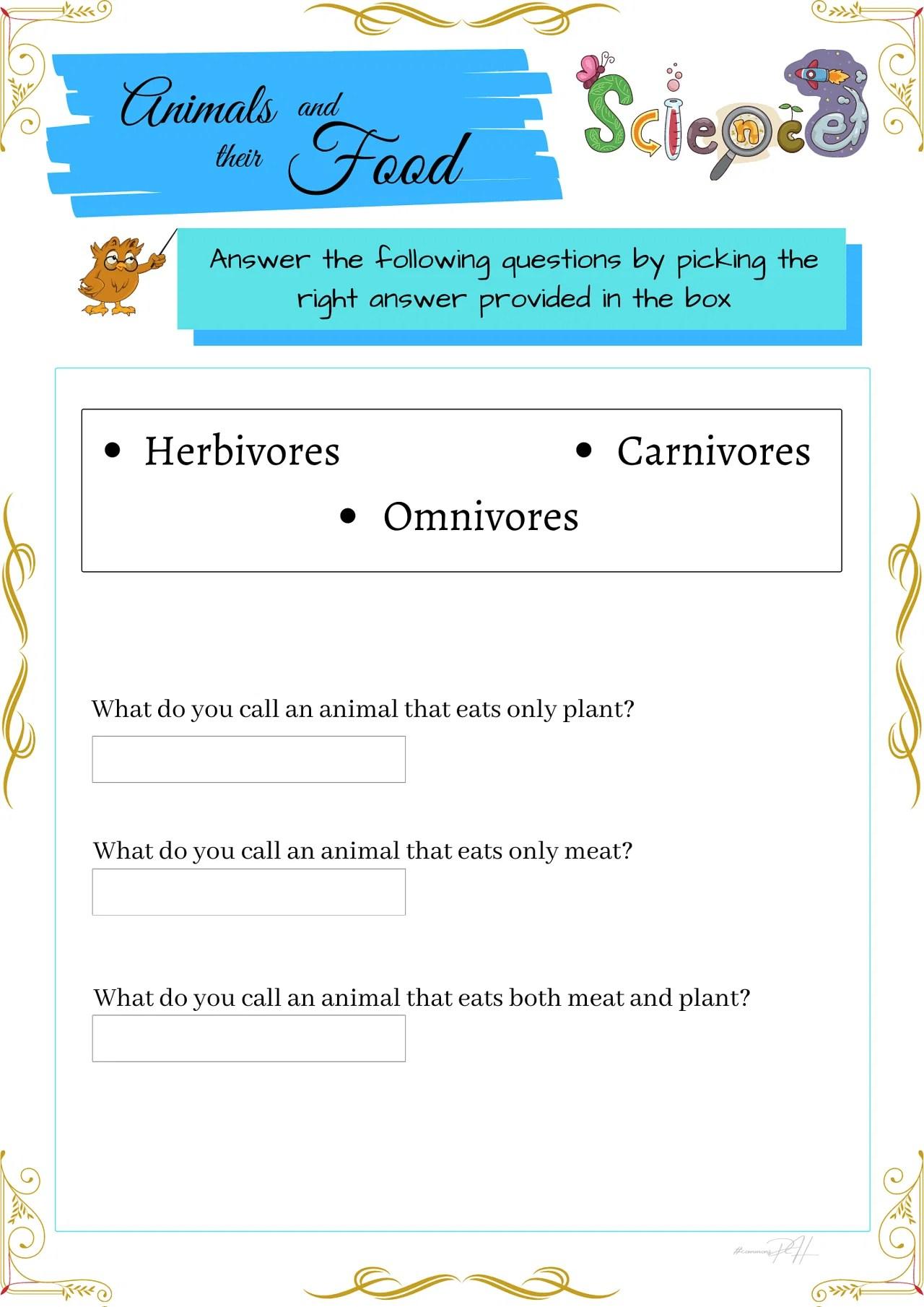 Grade 1 Science Worksheets   Herbivores Omnivores and Carnivores [ 1810 x 1280 Pixel ]