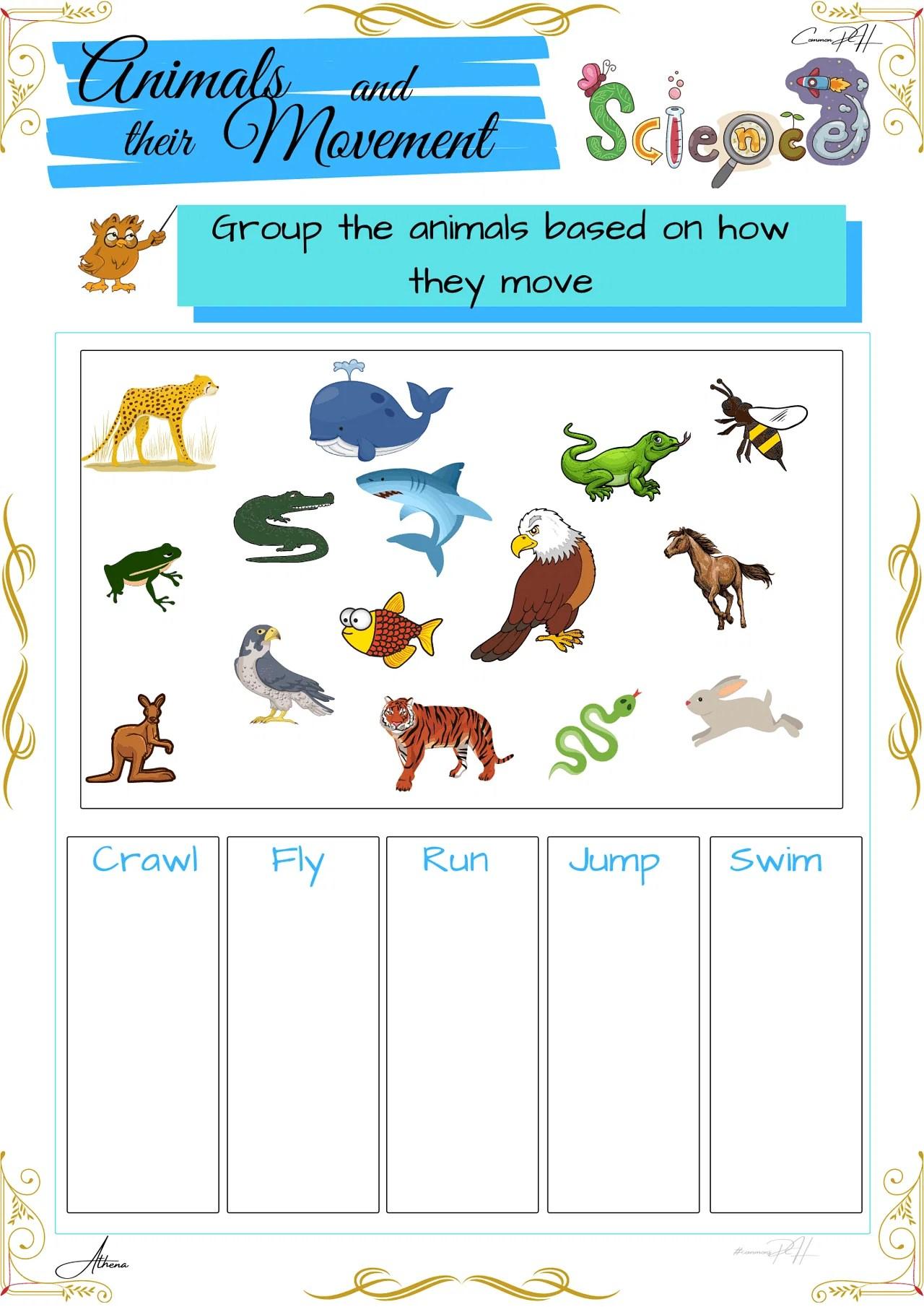 Grade 1 Science Worksheet   How Animals Move [ 2000 x 1414 Pixel ]