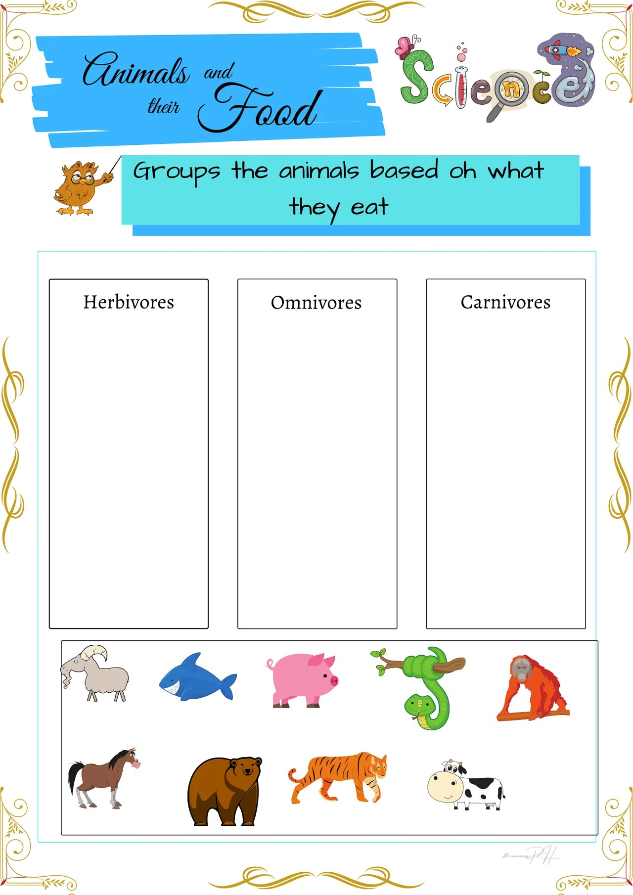 medium resolution of Grade 1 Science Worksheets   Herbivores Omnivores and Carnivores