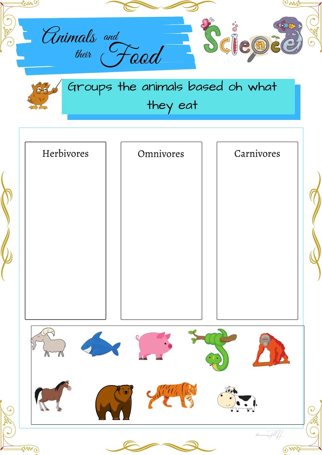 hight resolution of Grade 1 Science Worksheets   Herbivores Omnivores and Carnivores