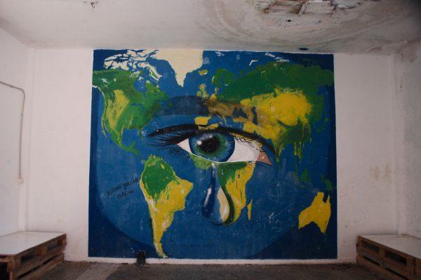 Ismail Noh's mural, painted in Ritsona. (Iris Samuels)